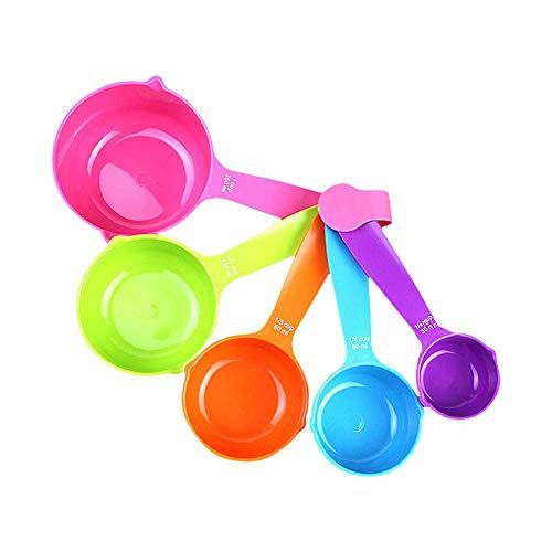 aoory Juego de Tazas y cucharas medidoras de plástico para cocinar de 5 Piezas