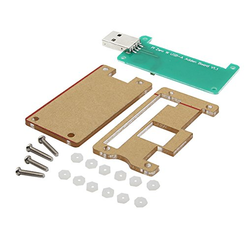 MakerHawk Raspberry Pi Zero W USB-A Addon Board V1.1 No Data Line Required Plug in then Play Provide A full Sized, USB Type-A Connector with Protective Acrylic Case for Raspberry Pi Zero or Zero W