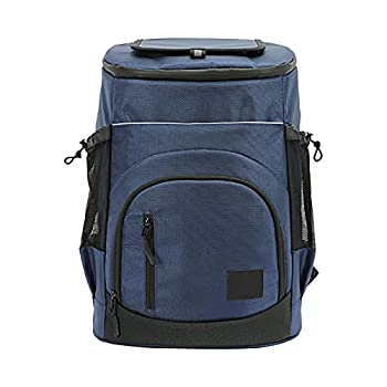 Sac à dos isotherme doux, 30 L, étanche, anti-fuite, pour pique-nique, camping, grande capacité, sac à dos isotherme pour camping, barbecue, activités de plein air (bleu foncé)
