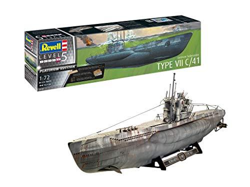 Revell GmbH Revell 05163 5163 Submarino alemán Tipo VII C/41 Platinum (edición Limitada) Kit de Modelo de plástico, Multicolor, 1/72