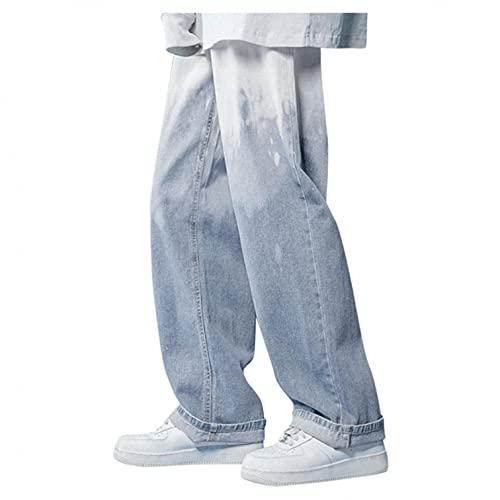 Pantalones vaqueros de aspecto lavado con inyección de tinta, degradado degradado, para hombre, estilo hip...