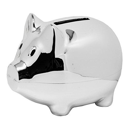 EDZARD Spardose, Sparschwein Piggy, Höhe 8 cm, versilbert und anlaufgeschützt