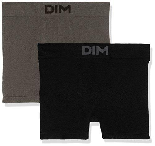 Unno DIM Basic Bóxer, Gris (Negro/Gris Oscuro 3b7), Large (Talla del Fabricante: 4) (Pack de 2) para Hombre