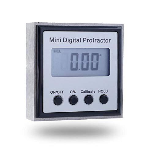 GDS Mini Digital Display Neigungssensor, Edelstahl Winkelmessgerät mit Magnetdigitalanzeige Winkel Lineal 4x90 Mess Protractor