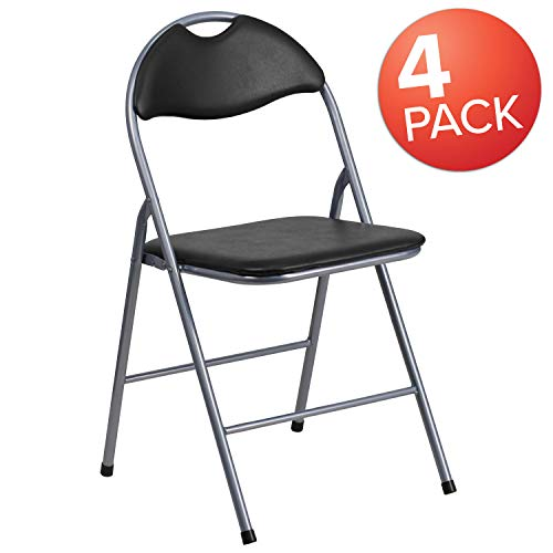 Flash Furniture 4 Pk. HERCULES Series Black Vinyl Metal Folding Chair with Carrying Handle
