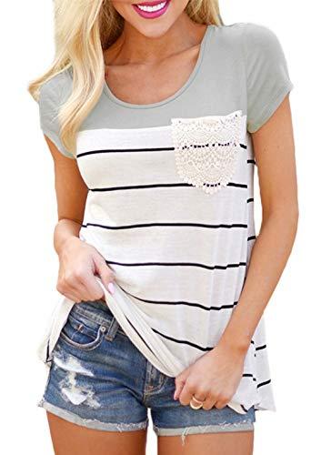 Flying Rabbit Damen Shirt Sommer Kurzarm Farbblock Streifen Tops Rundhals Bluse, Stil1-grau, XL