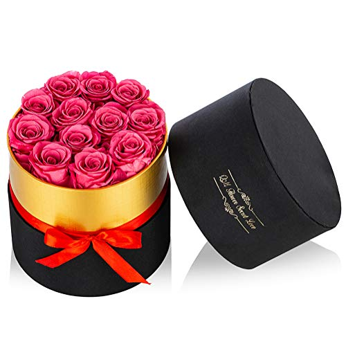 Nuptio Preserved Roses Real Flowers, 12 Pcs Handmade Long Lasting Roses Infinity Roses for Valentine's Day Mother's Day Birthday Christmas Wedding (Medium Round Black Gift Box)