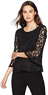 Adrianna Papell Womens AD1S300349 Foiled Lace Top with Long Bell Sleeve Long Sleeve Blouse - Multi