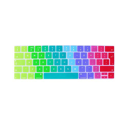 Keyboard Cover Foreign Language Protection Keyboard Membrane Rainbow Keyboard Cover for For Mac Pro 13/15 Touch Bar-Silver-