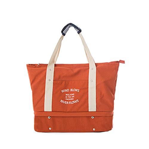 Damen Herren Trendy Reisetasche Segeltuchtasche Strandtasche Für Wochenend Urlaub (Orange)