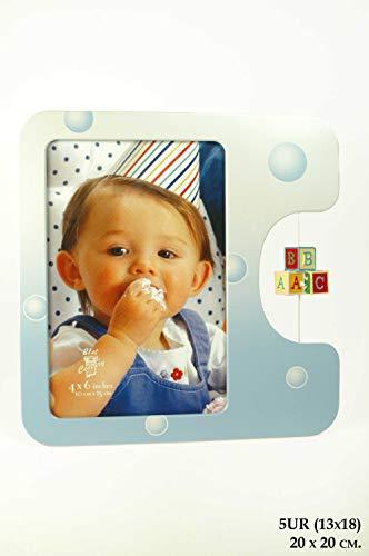CAPRILO. Set de 2 Marcos de Fotos Infantiles Decorativos de AluminioA-B-C. Portarretratos. Portafotos, Regalos Originales de Comunión y Bautizos. Decoración Hogar. Foto 13 x 18 cm. IB 7