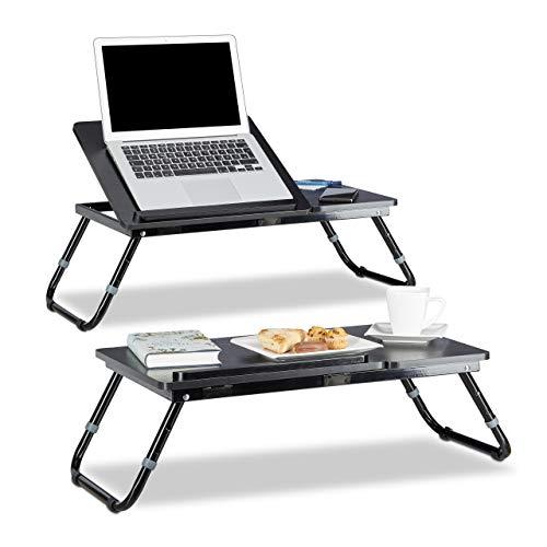 Relaxdays 2X Laptoptisch höhenverstellbar, Knietisch klappbar, Betttablett neigbar, Knietablett, Betttisch, HBT: 41 x 75 x 35 cm
