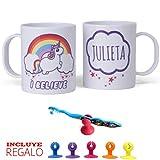 Unicornio taza PERSONALIZADA con nombre , bonito regalos unicornios - incluye REGALO ;-) gancho...