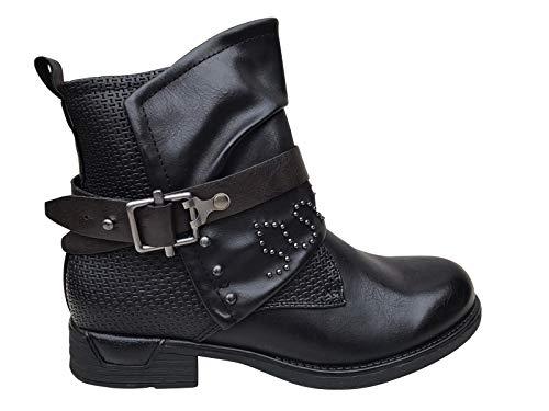 Damen Stiefeletten Biker Boots Nieten Stiefel Schuhe ST783 (Z006 Schwarz, numeric_41)