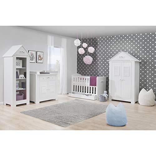 Chambre complète lit bébé 60x120 - commode à langer - armoire 2 portes Marsylia MDF - Blanc