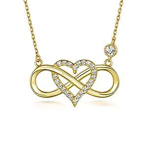 BlingGem Damen Ketten Unendlichkeit Herz Gelbgold vergoldet 925 Sterling Silber Zirkonia Herz Halskette Infinity Geschenk für Frauen