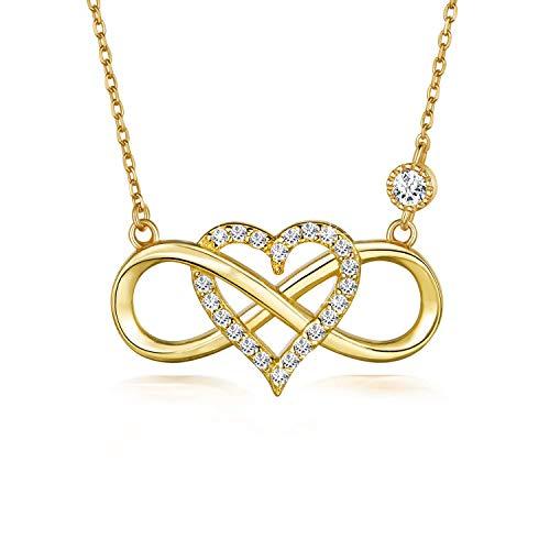 BlingGem Damen Kette aus 18 Karat Gelbgold vergoldet 925 Sterling Silber mit Rundschliff Zirkonia Unendlichkeit Herz Halskette Infinity Frauen 48 cm