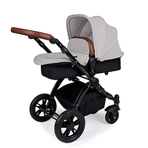Ickle Bubba Stomp V3, All-in-one Travel System: Includes carrycot, Reversible Pushchair, Galaxy Group 0+ car seat with Isofix Base (Silver with Tan Handles, Black Chassis)