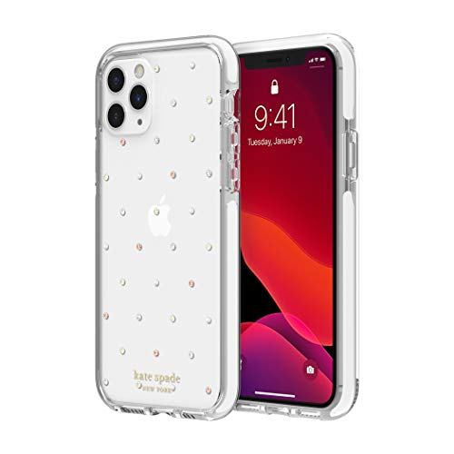 Kate Spade New York iPhone 11 Hard Case Cover 1 Piece Defensive Hard Case (1 PC Comold), iPhone 11 with Pin and Pearl White