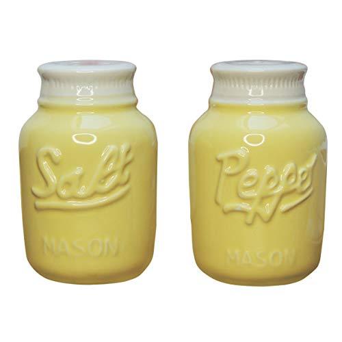 Comfify Vintage Mason Jar Salz & Pfeffer Streuer Bezauberndes dekoratives Mason Jar Dekor für Vintage-, Rustikal- und Shabby Chic-Liebhaber - Robustes Keramik in Gelb