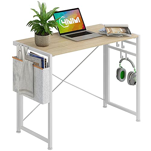 4NM 35.4' Small Desk with Storage Bag and 4-Hook No-Assembly Folding Computer Desk Home Office Desk Laptop Study Writing Table - White with Storage Bag