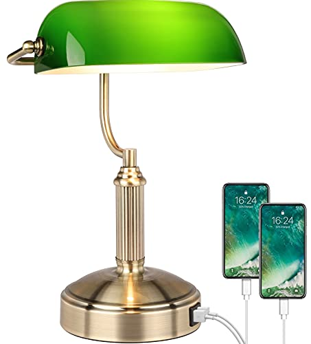 Bankers Lamp with 2 USB Ports, Touch Control Green Glass Desk Lamp, 3 Way Dimmable Table Lamp, Brass Base, Vintage Lamp for Bedroom, Workplace,...