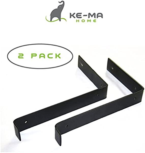 Kema Home Modern Rustic Wall Shelf Brackets Handcrafted Forged Black Iron DIY Home Decor Open Shelves 11 25 L X 6 H With A 1 Lip 2 Piece Set