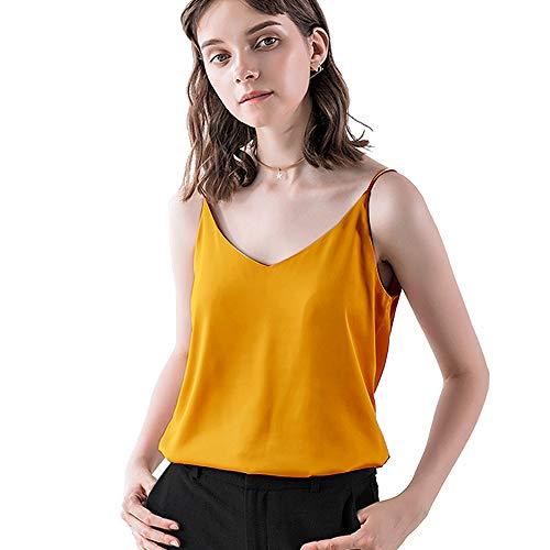 IIG Classic Womens Silk Satin Camisole Top Sexy V Neck Blouse Tank Shirt Ladies Spaghetti Strap Vest Cami XS-3XL (Yellow, Medium)