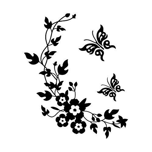Ogquaton Pegatinas de pared de vinilo extraíbles, diseño de mariposa, color negro, para el hogar, dormitorio, decoración de arte, pegatinas duraderas y útiles