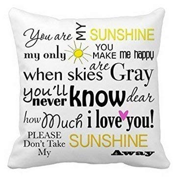 Mesllings Square Pillow Covers,Home Decor,Cushion Case,You Are My Sunshine Decorative Throw Pillow Case 45X45Cm
