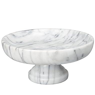 Creative Home Marble Fruit Bowl on Pedestal, 10  x 10 , White