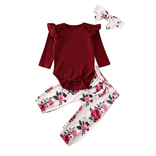 Geagodelia Babykleidung Set Baby Mädchen Langarm Body Strampler + Blumen Hose + Stirnband Neugeborene Kleinkinder Warme Babyset Kleidung T-28852 (0-3 Monate, Weinrot 894)