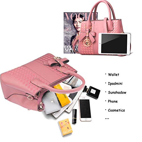 Handbags for Women Fashion Ladies Purses PU Leather Satchel Shoulder Tote Bags (Lightpink)