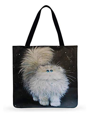 JINSUO Fresh Cartoon Cat Printed Tote Bag For Women Linen Faric Bag Ladies Shoulder Bag Outdoor Casual Tote Foldable Shopping Bag (Color : 7, Size : 44x42cm)