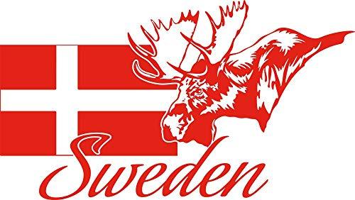GRAZDesign väggdekal självhäftande folie Sverige – dekoration bostäder Sverige karta – väggtatuering älg/101 x 57 cm/034 orange
