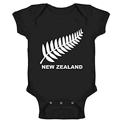 New Zealand Retro Soccer Rugby Kiwi Fern Crest Black 6M Infant Baby Boy Girl Bodysuit