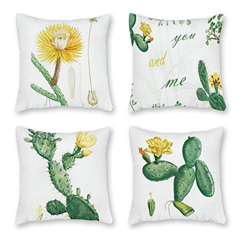 Juego de 4 fundas de cojín decorativas con estampado de flores de cactus para salón, sofá, oficina, decoración para dormitorio, sofá, cremallera invisible, 18 x 18 pulgadas