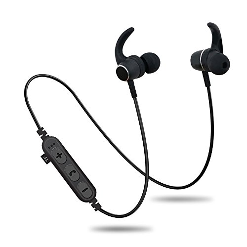 Bluetooth Headphones with TF SD Card Slot,Magnetic Wireless Sports in Ear Earbuds Headsets with Mic, Wireless Bluetooth 4.2 Magnetic Sports Headset Waterproof Outdoor (Black)