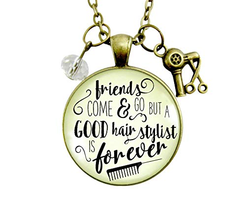 """Gutsy Goodness 24"""" Hair Stylist Necklace Friends Forever Beautician Quote Jewelry"""