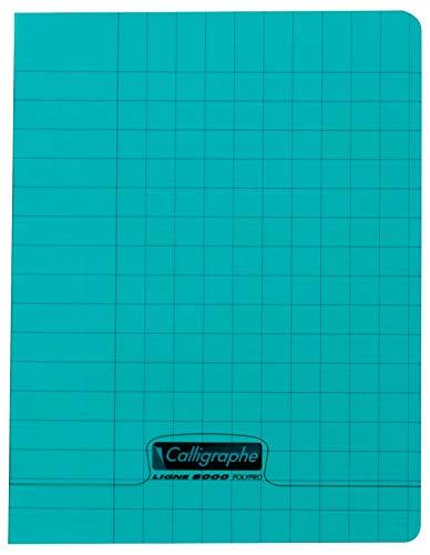 Calligraphe 18013C - Un cahier d'écriture piqué (gamme 8000 de Clairefontaine) 32 pages 17x22 cm 90g seyes 3mm, couverture polypro (plastique), Vert