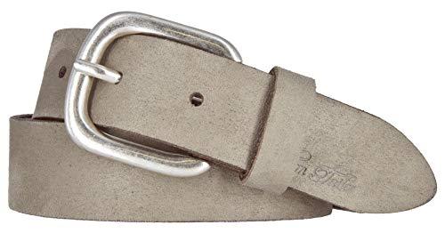 TOM TAILOR Damen Leder Gürtel Belt Ledergürtel Velours - Rindleder mit Alcantara Soft Touch Taupe 30mm (85 cm)