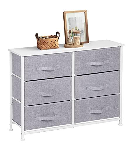 Cómoda de 6 cajones, armario de almacenamiento de tela con tapa de madera y marco de metal, unidad organizadora para dormitorio, sala de estar, pasillo, 80 x 30 x 64 cm