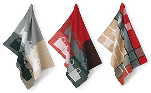 Kela 390167 Tabea Lot de 3 Torchons Coton Gris/Rouge 50 x 70 cm