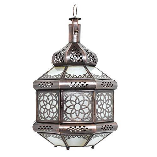 Lámpara de techo oriental marroquí de cristal, color blanco, altura 35 cm, estilo vintage, marroquí, árabe, 100% artesanal tradicional