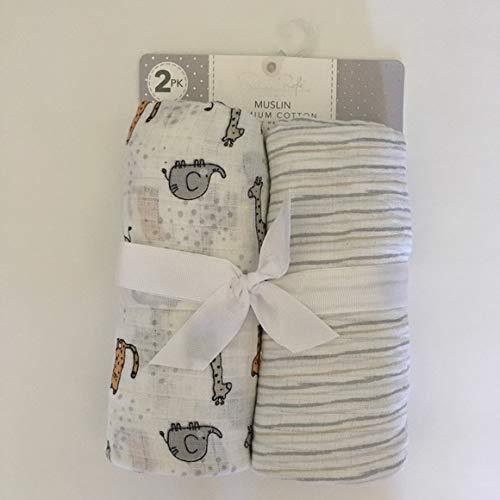 "Rene Rofe Baby Muslin Premium Cotton Swaddle Blankets 40"" x 40"" 2 PK"