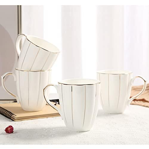 DUJUST Kaffeebecher 4er-Set (400ml), Luxuriöser Britischer Stil mit Handgefertigten Goldenen Verzierungen, Erstklassiges Bone-China-Tassenset in Weiß und Gold für Kaffee & Tee, Wunderschön & Anmutig