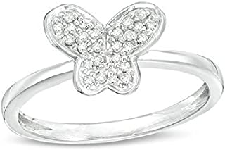 Royal Jewelz 1/10cttw Diamond Butterfly Ring In Sterling Silver. Gifts For Women