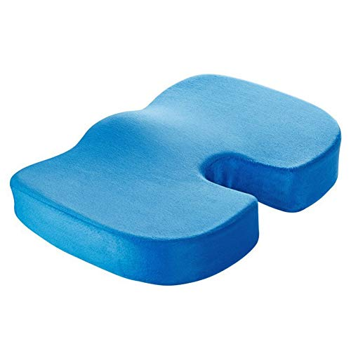 ZHAOXX Memory Foam Seat Cushion Orthopedic Care U-Shaped Cushion Beautiful Buttock Cushion with Plush Removable Cover for Lower Back Pain, Sciatica and Tailbone Pain Relief Blue