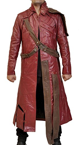 LP-FACON Mens Cosplay Hero Star Costume Maroon Faux Leather Trench Coat