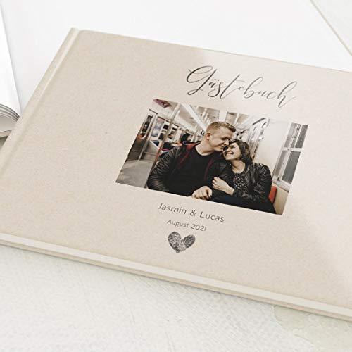 sendmoments Hochzeit Gästebuch Fingerabdruck, individuell mit Wunschtext und persönlichem Foto, hochwertiges Hardcover-Buch, Querformat, mit 32 leeren Seiten oder mehr